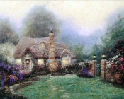 Thomas Kinkade - Green Lawn in Front of House