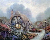 Thomas Kinkade - Cute House in Flowers
