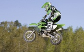Motocross Green Kawasaki Bike