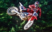 Motocross - Red Honda in Flight, 9