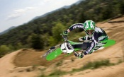 Motocross - Green Kawasaki in Flight, 1