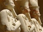 Statues at the 3rd Terrace, Temple of Hatshepsut, Deir el Bahri, Thebes, Luxor, Egypt