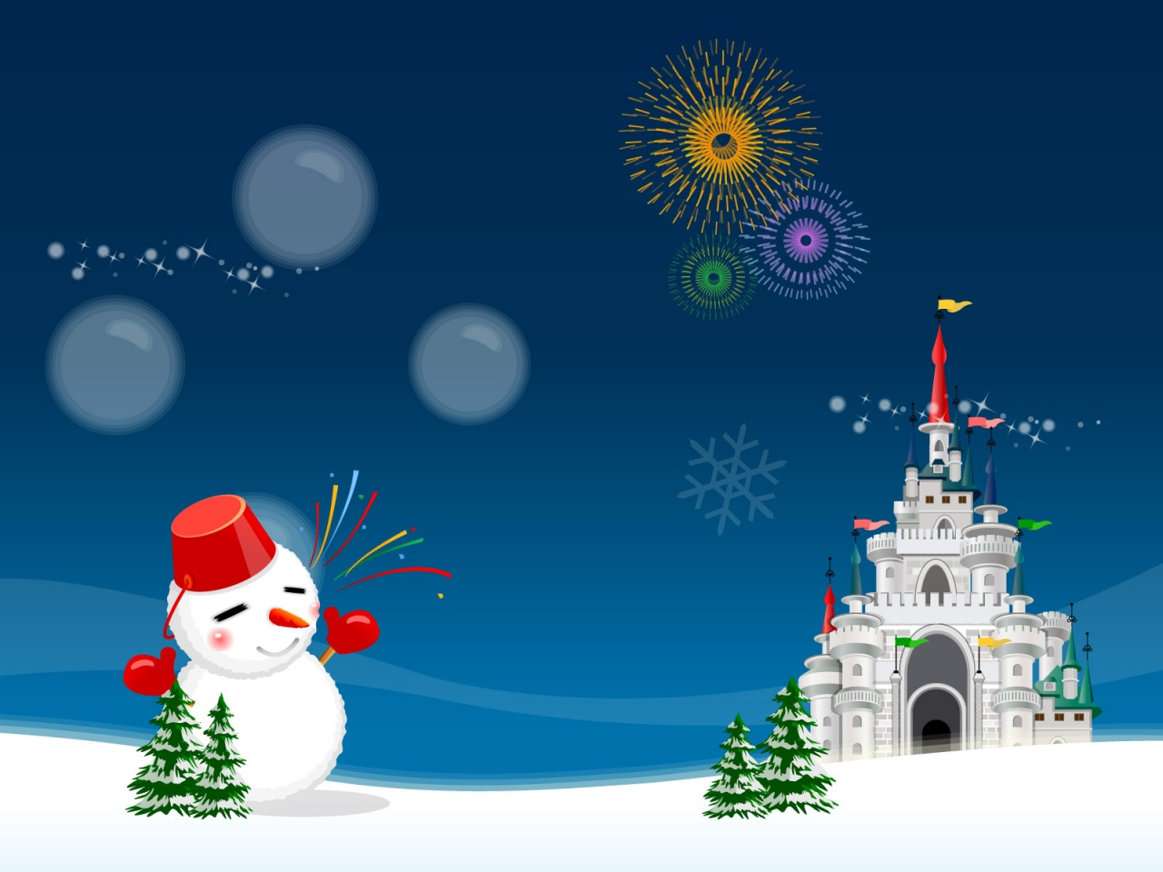 Christmas Night, Snowman, Fireworks