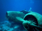Old air plane crashed underwater