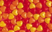Red, Orange Yellow Candy Hearts