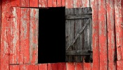 Wooden Window in the Red Barn