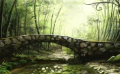 Painting, Forest, Bridge, The Creek