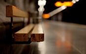 Wooden Bench on the Metro Station