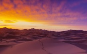 Sunset in Sand Dunes of Sahara