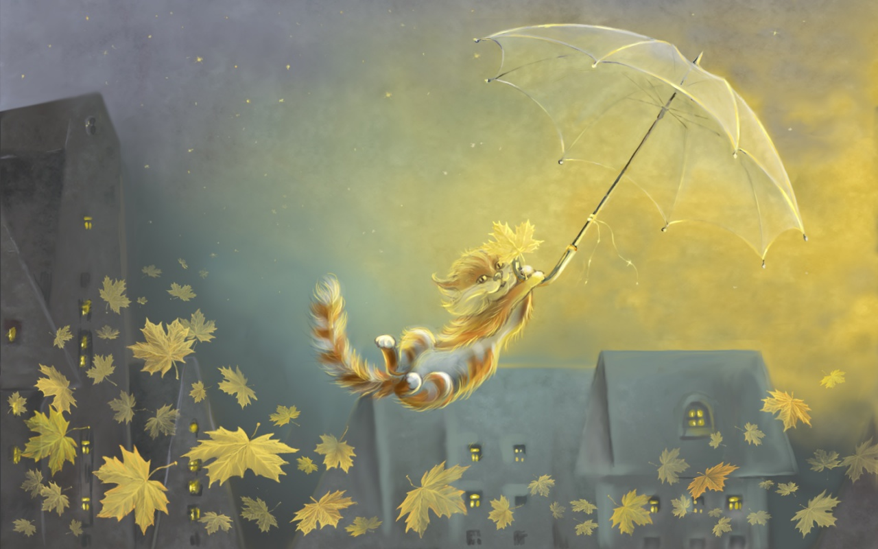 Flying Cat, Winter Soon Painting