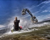 Wakeboarding on a Rotating Excavator